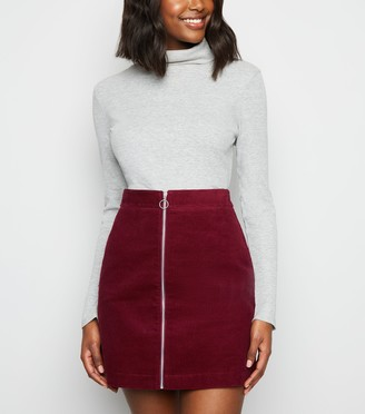 New Look Cord Zip Front Mini Skirt