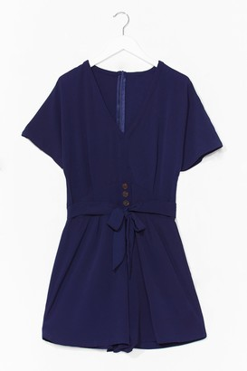 Nasty Gal Womens Turn It On Belted Relaxed Playsuit - Navy - S