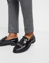 Asos Edition EDITION faux leather loafer in black crock with metalwork