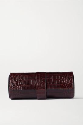 Smythson Mara Glossed Croc-effect Leather Watch Roll - Merlot