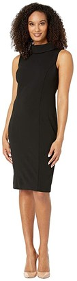 Tahari ASL Sleeveless Stretch Crepe Sheath Dress with Envelope Collar (Black) Women's Dress