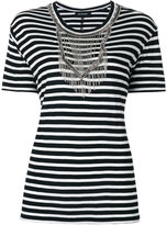 The Kooples embellished striped T-shirt - women - Viscose - 1