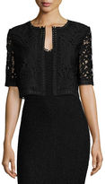 St. John Embroidered-Lace Cropped Jacket