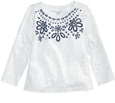 First Impressions Flocked Floral-Print Cotton T-Shirt, Baby Girls (0-24 months), Created for Macy's