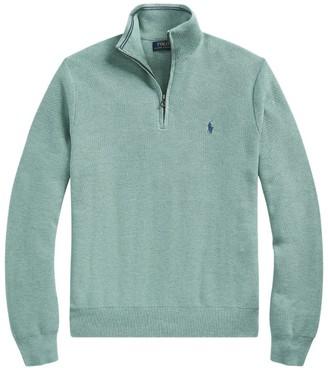 Ralph Lauren Cotton Pique Half-Zip Sweater