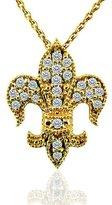 PPLuxury 0.30CT Diamond 14K Yellow Gold Fleur De Lis Pendant Necklace