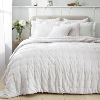 The White Company Romney Quilt , White Grey, Double