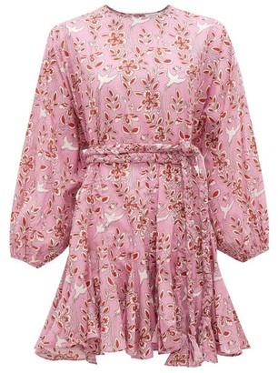 Rhode Resort Ella Bird-print Cotton Dress - Womens - Pink Print