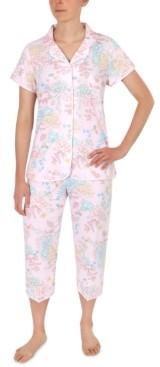 Miss Elaine Floral-Printed Capri Pajama Set