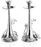 Michael Aram Set of 2 White Orchid Candlesticks