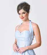 Retro Style Dusty Blue Netted Combless Bridal Veil