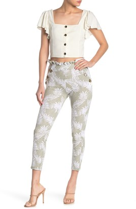 Planet Gold Aop High Waisted Paperbag Pants