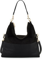 Neiman Marcus Faux-Suede Fold-Over Hobo Bag, Black