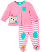 Taggies Pastel Pink Cat Cardigan & Footie Pants - Infant