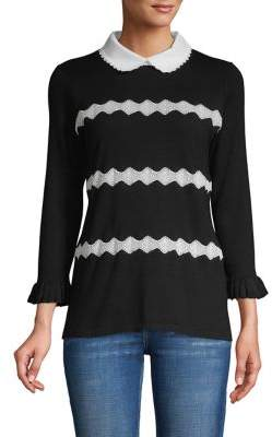 Karl Lagerfeld Paris Zigzag Peter Pan-Collar Sweater
