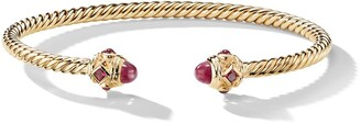 David Yurman 18kt yellow gold Renaissance ruby 3.5mm cuff