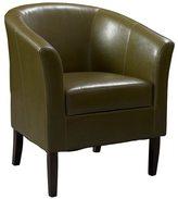 Linon Andrew Barrel Club Chair Medium Brown Upholstery