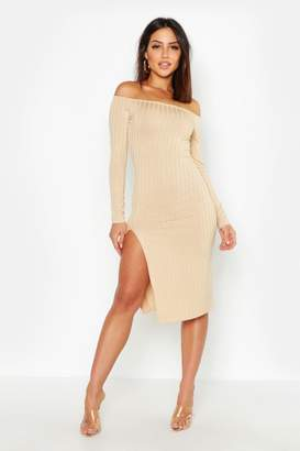 boohoo Ribbed Off The Shoulder Thigh Split Midi Dress