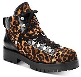 AllSaints Women's Lia Leopard Print Combat Booties