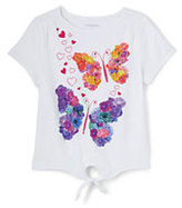 Lands' End Little Girls Tie Front Graphic Knit Top-Floral Heart