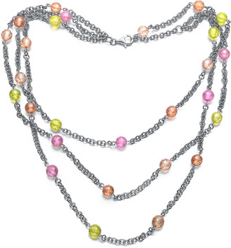 Genevive Silver Cz Layered Necklace