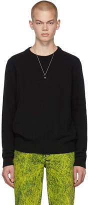 Maison Margiela Black Embossed Sleeve Crewneck Sweater
