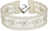 Chan Luu Adjustable White Lace Choker with Swarovski Crystals Necklace