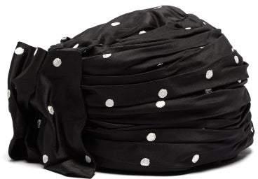 Maison Michel Polka Dot Print Turban Hat - Womens - Black