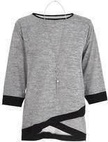 Quiz Grey and Black Contrast Necklace Top