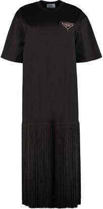 Prada Fringed Cotton T-shirt Dress