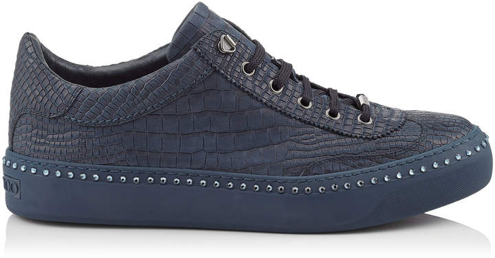 Jimmy Choo ACE Navy Crocodile Printed Nubuck Leather Low Top Trainers with Navy Crystals