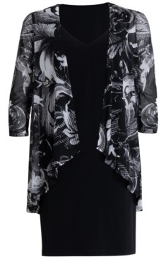 Connected Printed Chiffon Jacket Dress