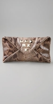 Katia Faux Snake Envelope Clutch with Studs