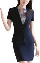 MFrannie Womens Short Sleeve Single Button Blazer & Skirt Office Lady Suit Set XS