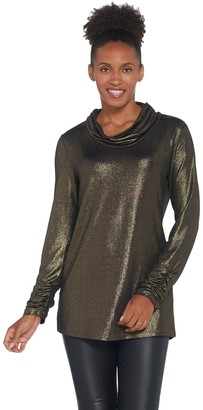 Susan Graver Metallic Knit Cowl-Neck Tunic and Knit Tank Set