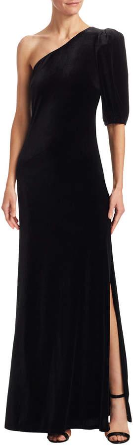 ABS by Allen Schwartz Velvet One-Shoulder Gown