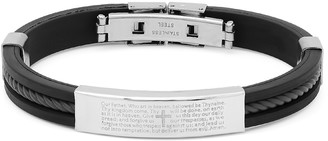 Steel Time Men's Bracelets black/metallic - Stainless Steel & Black Rubber English Prayer Bracelet