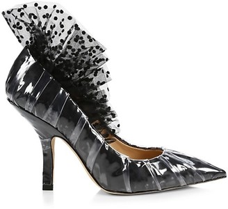 Midnight 00 Ruched Polka Dot Tulle & PVC Pumps