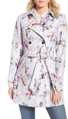 GUESS Printed Double Breasted Trench Coat