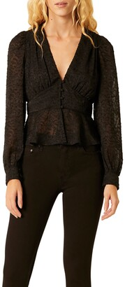 French Connection Brenna Long Sleeve Lace Peplum Top