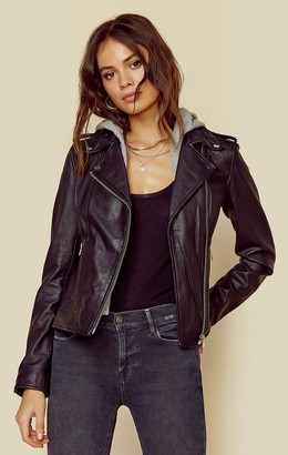 LAMARQUE HOLY HOODED LEATHER BIKER   New
