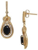 Lord & Taylor Onyx, Diamond and 14K Yellow Gold Drop Earrings