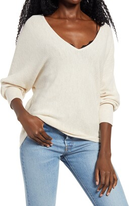 Leith Dolman Sleeve V-Neck Sweater