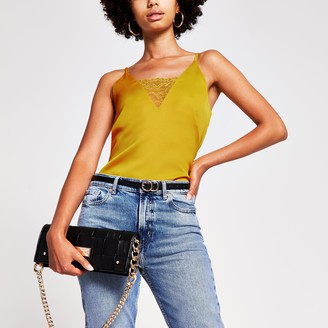 River Island Womens Yellow lace cami top