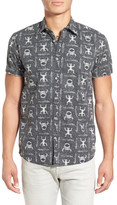 Quiksilver &Skull Cave& Trim Fit Short Sleeve Print Woven Shirt