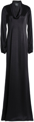 Black Halo Eve By Laurel Berman Barcelona Draped Satin-crepe Gown