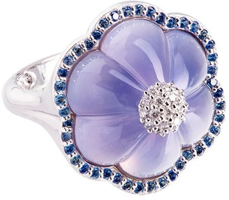 GUITA M 18kt Gold, Sapphire, Diamond And Blue Carved Chalcedony Ring