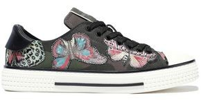 Valentino Camu Butterfly Leather-trimmed Embroidered Printed Canvas Sneakers