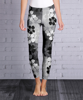 Lily Black & Gray Floral Leggings - Plus Too