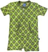 Kickee Pants Print Kangaroo Romper (Baby) - Meadow Argyle-3-6 Months